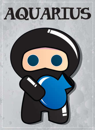 Zodiac sign Aquarius with cute black ninja character, vector