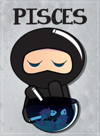 Zodiac sign Pisces with cute black ninja character, vector