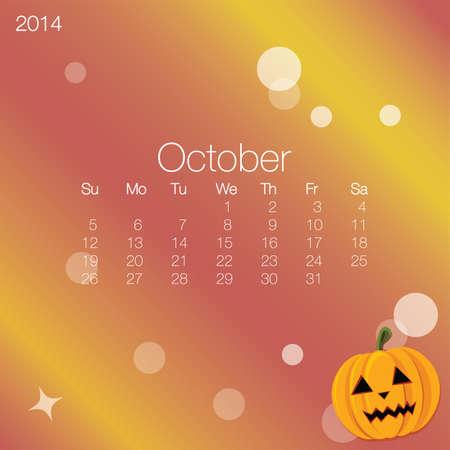 2014 calendar October, vector Vector