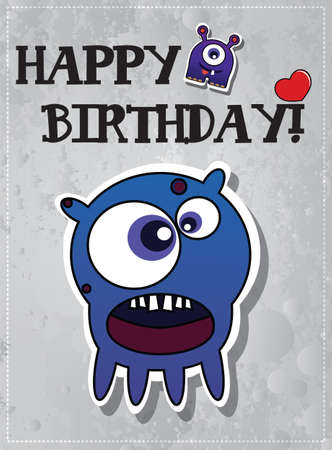 Birthday card with cute monsters, vector Vector