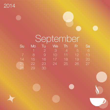 calendario septiembre: 2014 calendario Septiembre, vector