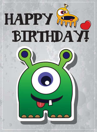 Happy birthday card with cute cartoon monster character, vector Stock Vector - 24213705