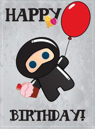 Happy birthday card with cute cartoon ninja character, vector