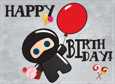 Happy birthday card with cute cartoon ninja character, vector Vector