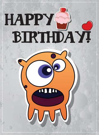 cup cakes: Tarjeta del feliz cumplea�os con el car�cter lindo monstruo de dibujos animados y cup cakes, vector