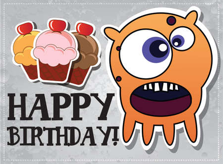 Happy birthday card with cute cartoon monster character and cup cakes, vector Vector