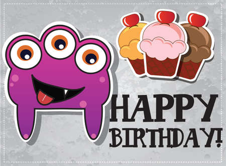 Happy birthday card with cute cartoon monster character and cup cakes, vector Stock Vector - 24213714