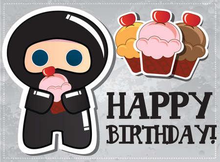cartoon warrior: Happy birthday card with cute cartoon ninja character, vector