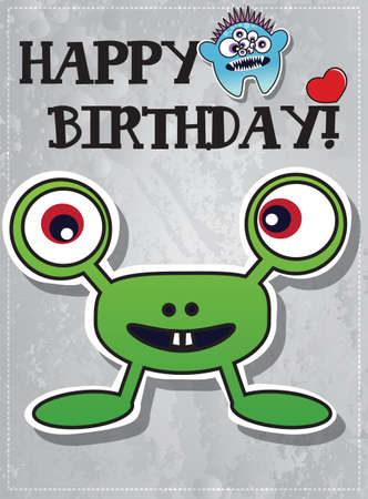 Happy birthday card with cute cartoon monster character, vector Vector
