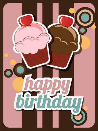 Happy birthday cup cake card, vintage retro, vector Vector