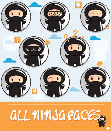 Collection of cute cartoon ninjas with different face expressions