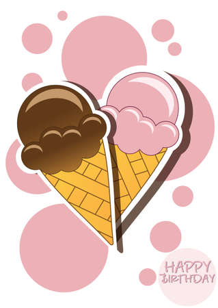 Ice cream happy birthday card with bubbles, vector Vector