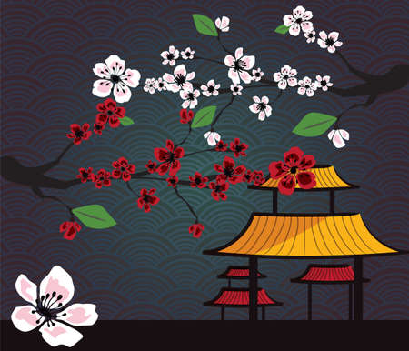 yellow roof: Japanese card with cherry blossom, sakura and traditional Japanese elements, VECTOR Illustration