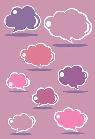 Collection of purple speech bubbles, vector Vector