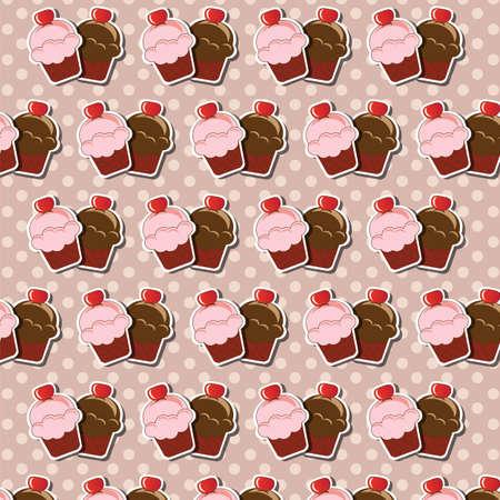 cake background: Cup cake background, vector Illustration