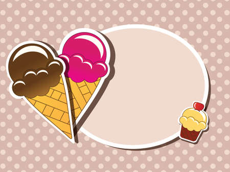 Ice cream invitation background with place for text, vector Vector