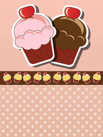 Cup cake invitation background with place for text, vector Illustration
