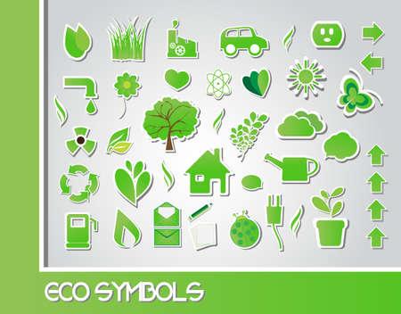 residuos organicos: Símbolos Eco, vector