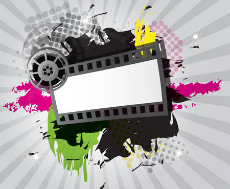 movie projector: Movie background with filmstrip and director s chair, vector Illustration