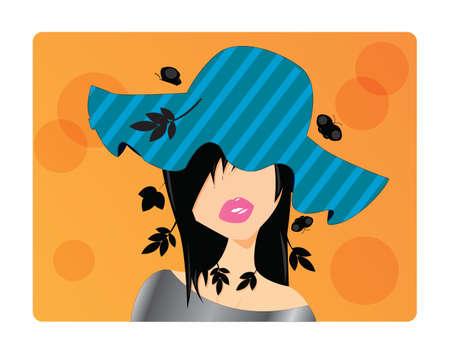 dark hair: Portrait of a beautiful girl with long dark hair wearing a hat, vector