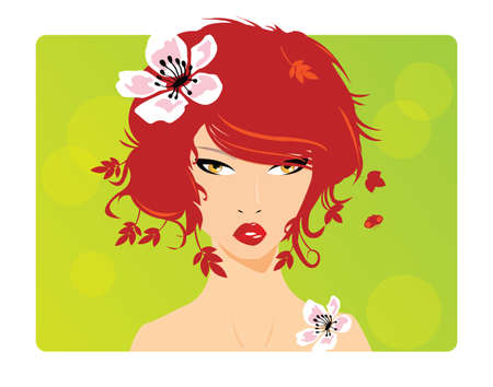 Portrait of a beautiful girl with red hair, ginger, and flower in her hair, vector