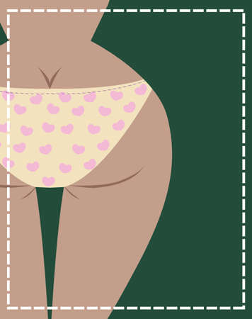 Vector illustration of girl s back in underwear, vector Vector