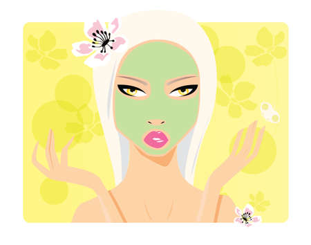 hair mask: Beautiful girl, beauty cosmetics, applying face mask, vector