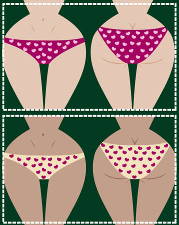 Collection of girls in underwear, front and back, vector Vector