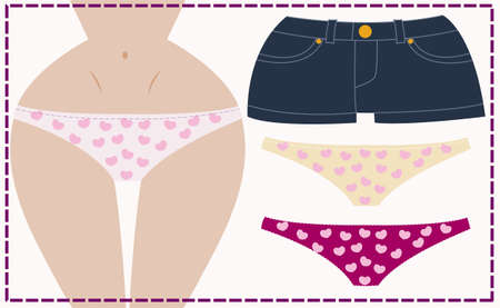 Dress me up girl in underwear with jeans shorts, vector Vector