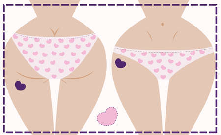 Vector illustration of girl in underwear, front and back Vector