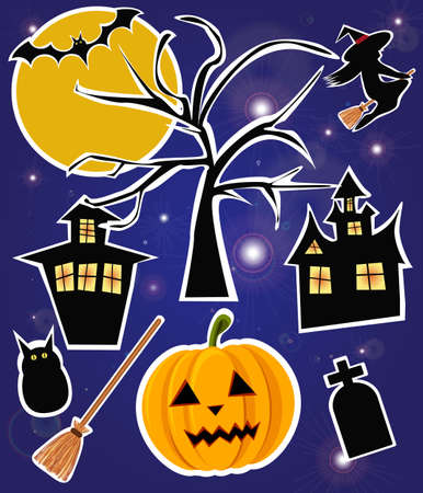 Halloween items, vector Vector