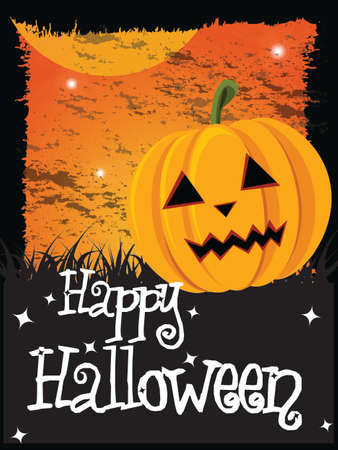 Happy Halloween card with pumpkin and message, vector Vector