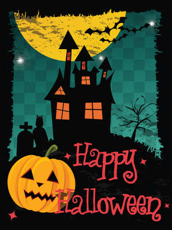 Happy Halloween card with haunted house, pumpkin, bats and cemetery, vector Vector
