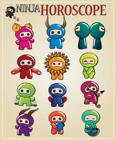 Zodiac signs with cute ninja characters in different colors, vector Vector