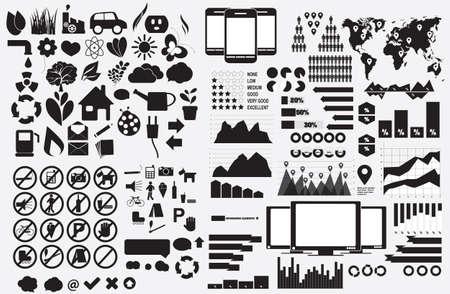 Set of Eco symbols, forbidden symbols and Infographic elements, vector