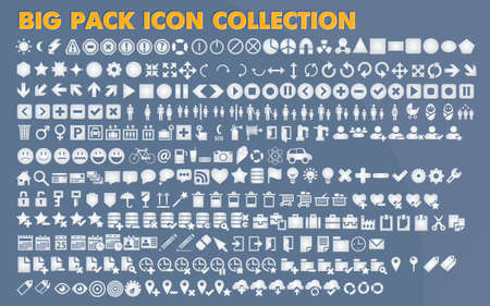 Collection of universal icons and symbols for web and mobile, vector Illustration