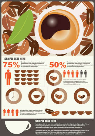 Collection of coffee infographics elements, vector Vetores
