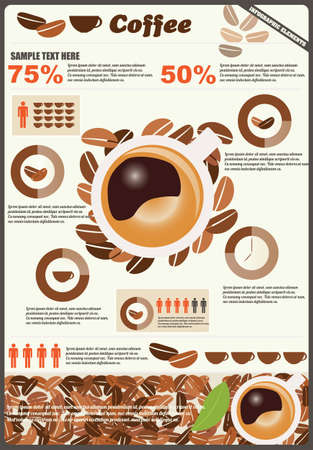 Collection of coffee infographics elements, vector