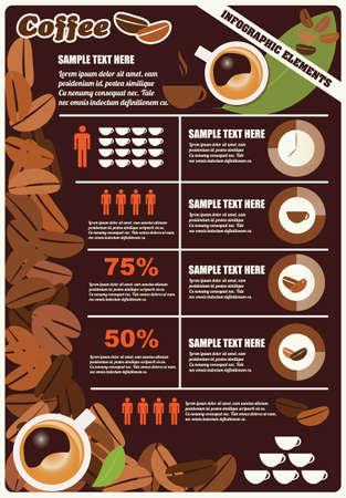 Collectie van koffie infographicselementen, vector