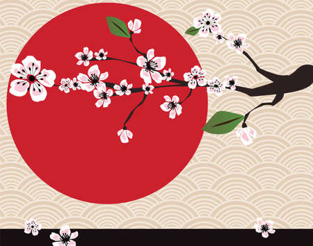 Japanese card with cherry blossom, sakura and traditional Japanese elements, vector Vector