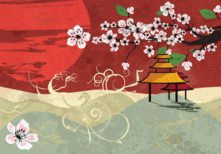 Japanese card with cherry blossom, sakura and traditional Japanese elements, vector