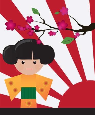 geisha kimono: Little cute Japanese geisha character card with place for text, vector Illustration