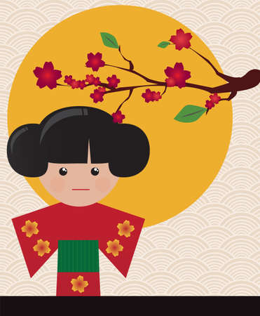 Little cute Japanese geisha character card with place for text, vector Vector