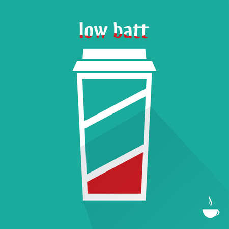 Lage batterij kopje koffie, plat ontwerp, vector