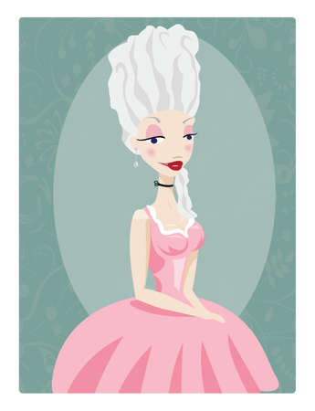 Beautiful young queen, Marie Antoinette, in pink gown, vector Иллюстрация