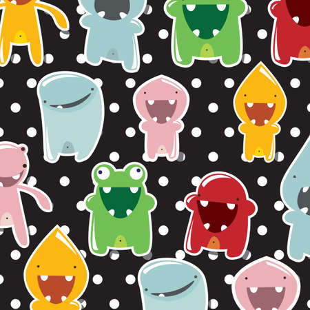 Collection of cute monsters, wallpaper, vector Vector