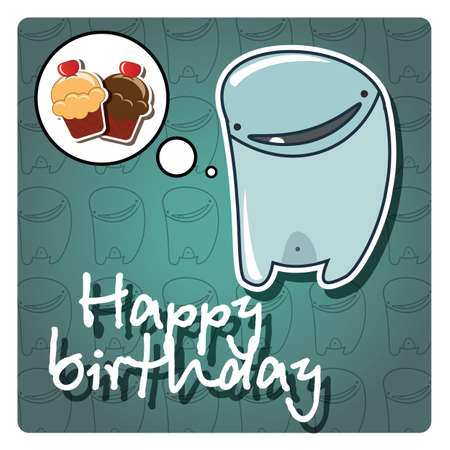 Happy birthday card with cute colorful monster, vector Vector
