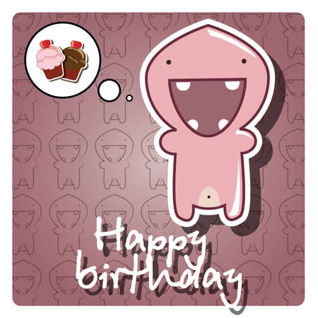 Happy birthday card with cute colorful monster, vector Stock Vector - 24281306