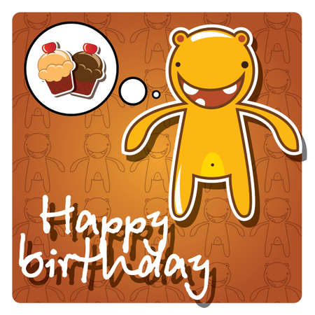 Happy birthday card with cute colorful monster, vector Stock Vector - 24281305