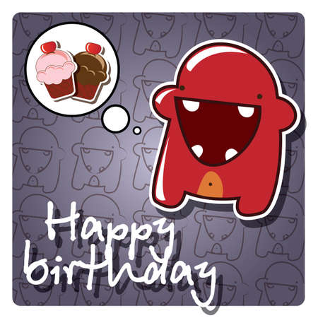 Happy birthday card with cute colorful monster, vector Stock Vector - 24281308